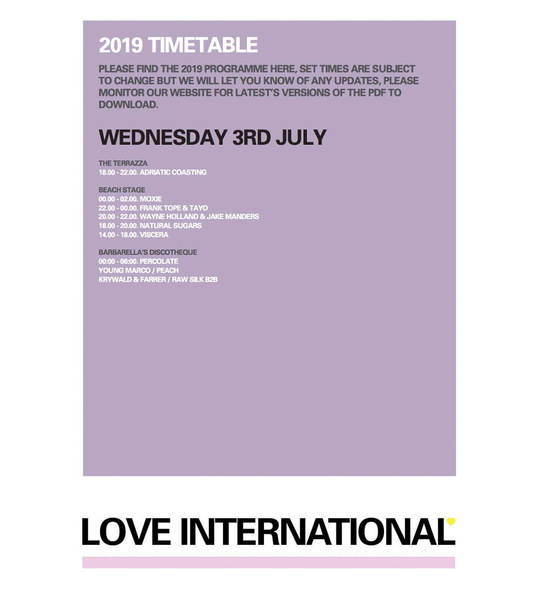 Wed 3rd July